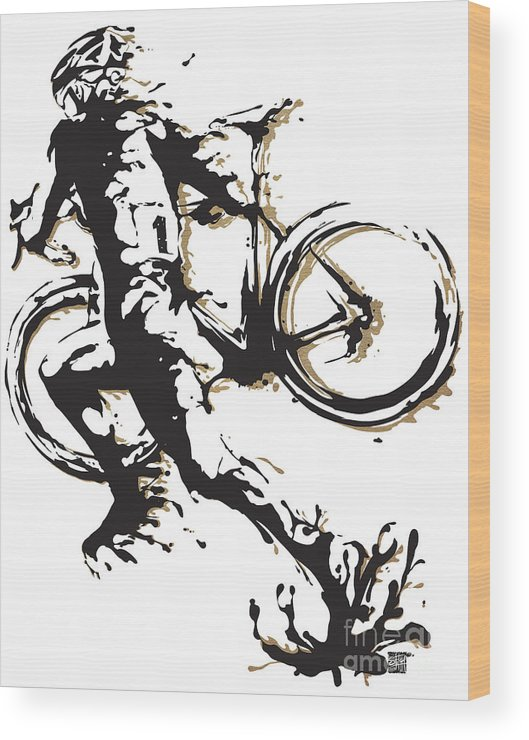 Cyclocross Wood Print featuring the painting Cyclocross Poster1 by Sassan Filsoof