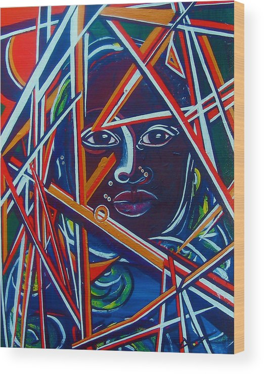 Darfur Wood Print featuring the painting Darfur - Lady Hope by Valerie Wolf