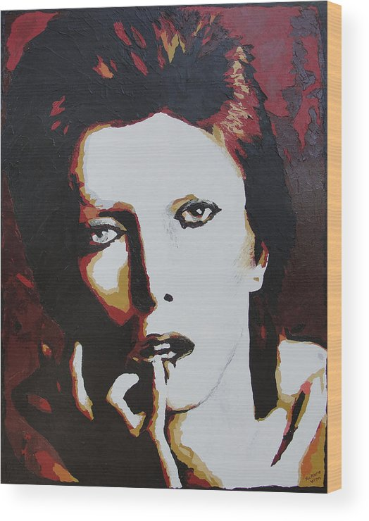 David Bowie Wood Print featuring the painting David Bowie by Ricklene Wren