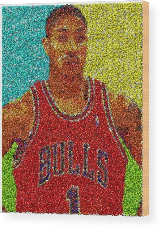 66879338b856 Chicago Wood Print featuring the mixed media Derrick Rose Skittles Mosaic  by Paul Van Scott