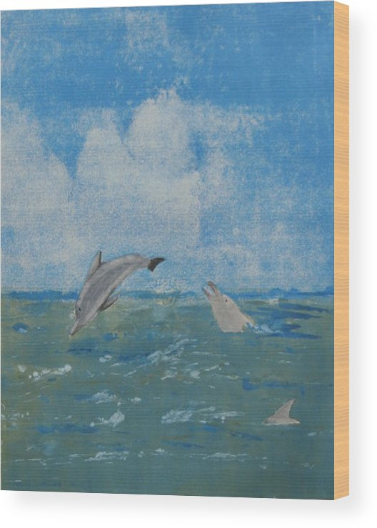 Dolphin Wood Print featuring the painting Dolphin Frolic by Libby Cagle