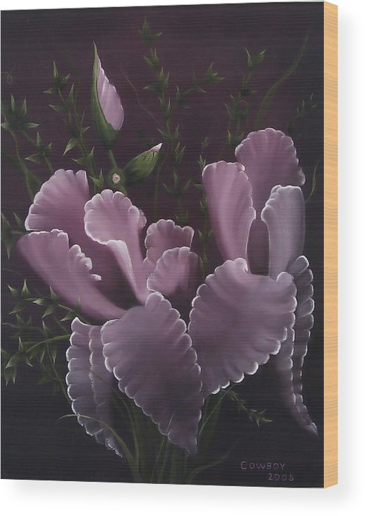 Iris Wood Print featuring the painting Double Iris by Darren Yarborough