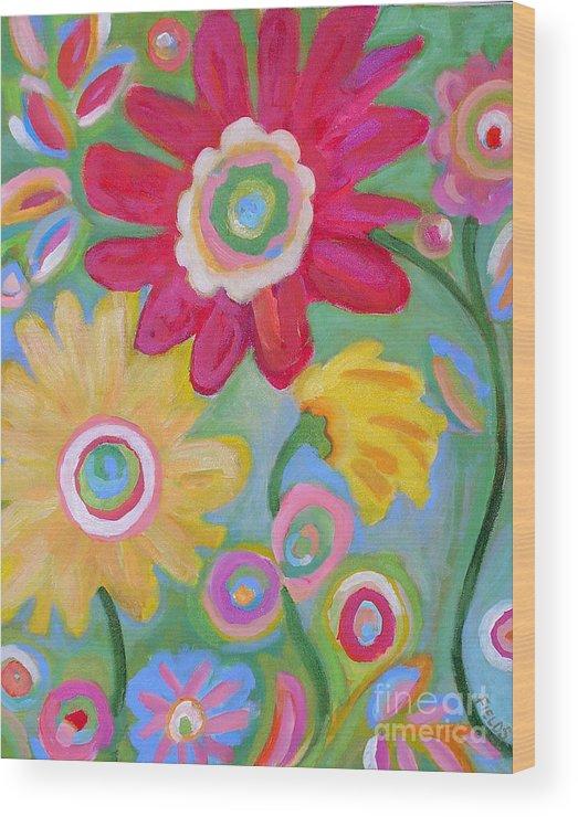 Karen Fields Wood Print featuring the painting Dream Flowers by Karen Fields