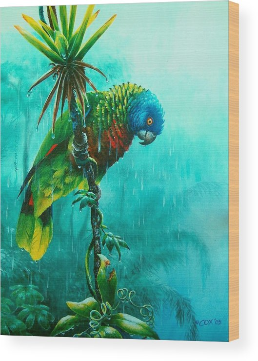 Chris Cox Wood Print featuring the painting Drenched - St. Lucia Parrot by Christopher Cox
