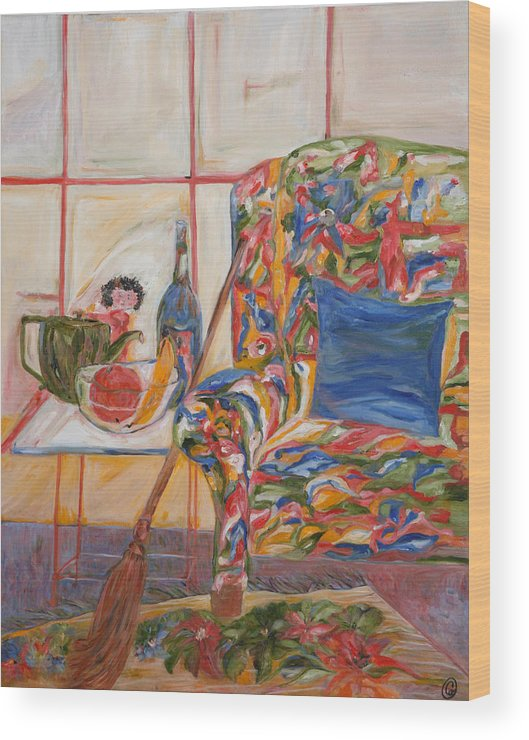 Expressionism Wood Print featuring the painting Easy Chair by Cynthia Anheier