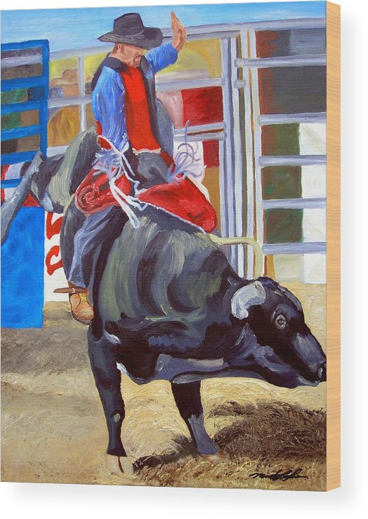 Bull Riding Wood Print featuring the painting Eight Long Seconds by Michael Lee