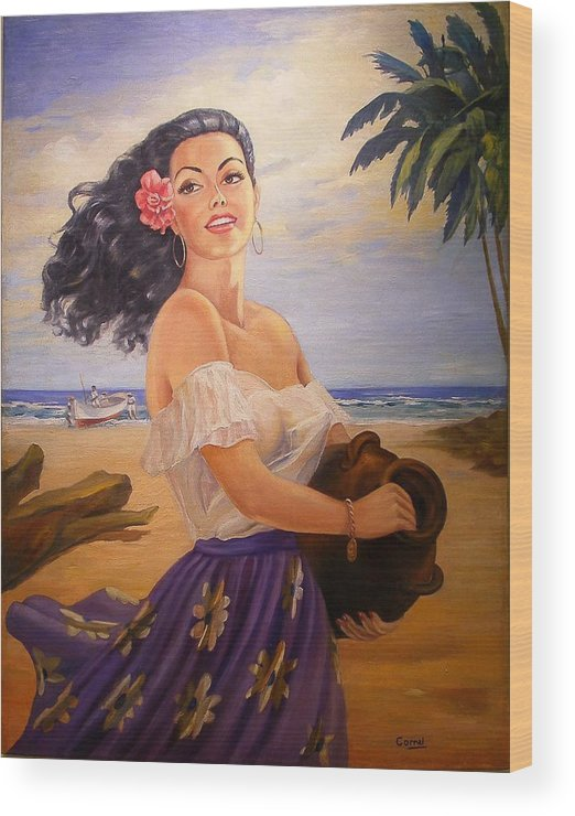 Beach Wood Print featuring the painting En La Playa by Corral