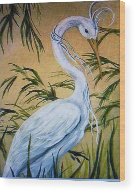 Bird Wood Print featuring the painting Fantasy Heron by Patricia R Moore