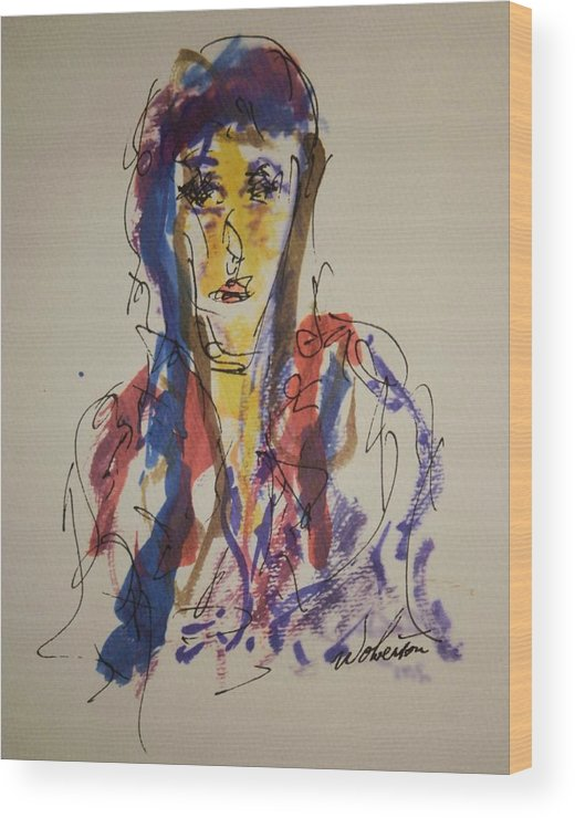 Portrait Wood Print featuring the painting Female Face Study W by Edward Wolverton