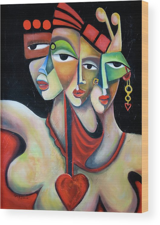 Festive Fiesta Women Party Red Green Abstract Figurative Cubist Cubism Wood Print featuring the painting Fiesta by Niki Sands