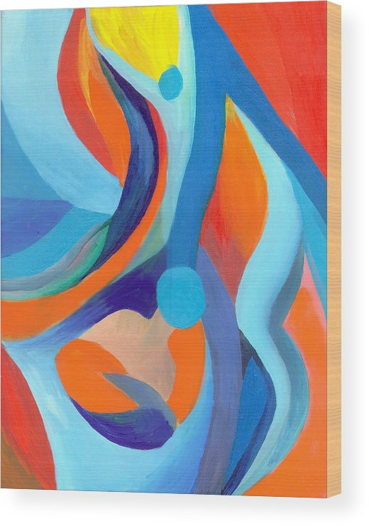 Abstract Wood Print featuring the painting Finding Joy by Peter Shor