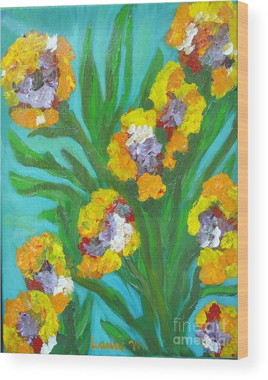 Flower Wood Print featuring the painting Fire Blossoms by Laurie Morgan