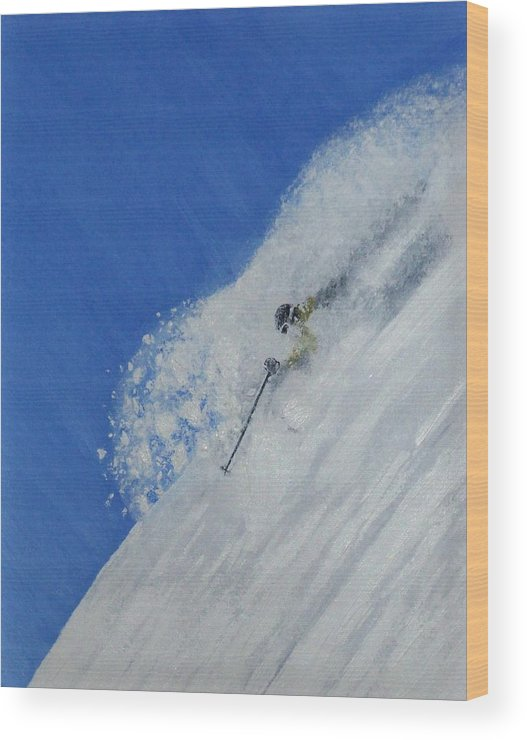 Ski Wood Print featuring the painting First by Michael Cuozzo