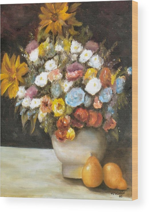 Flowers Wood Print featuring the painting Flowers After Renoir by Merle Blair