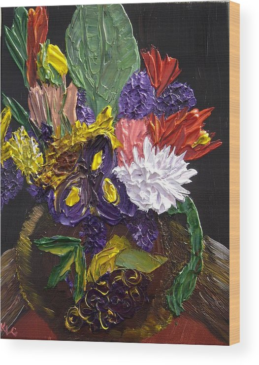 Flowers Wood Print featuring the painting Flowers For Linda by Karen L Christophersen