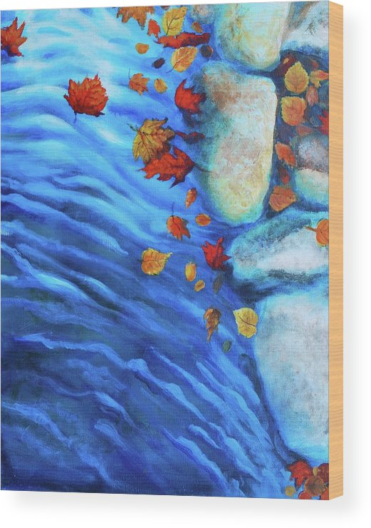 Water Wood Print featuring the painting Flowing Fall by Haley Grebe