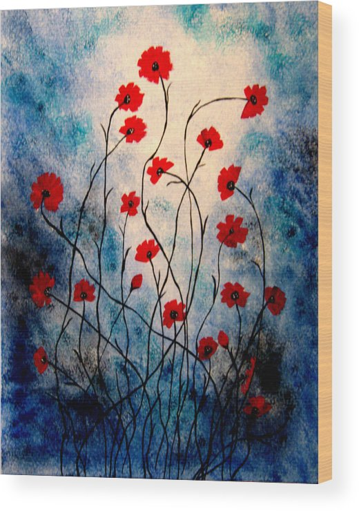 Abstract Acrylic Floral Red Poppies Blue Black White Wood Print featuring the painting Friends Too by Linda Powell