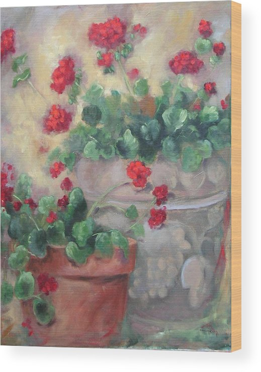 Geraniums Wood Print featuring the painting Geraniums by Ginger Concepcion