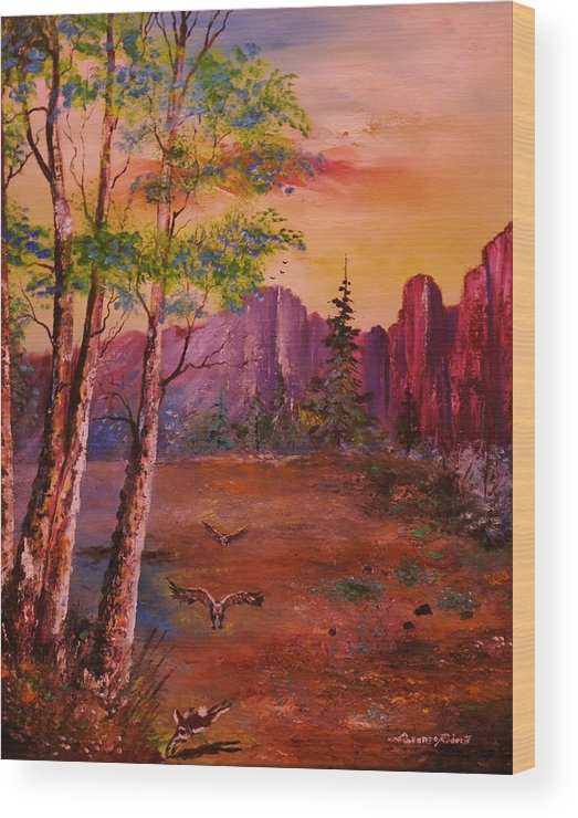 Mountains Landscape Wood Print featuring the painting Get Away by Lorenzo Roberts