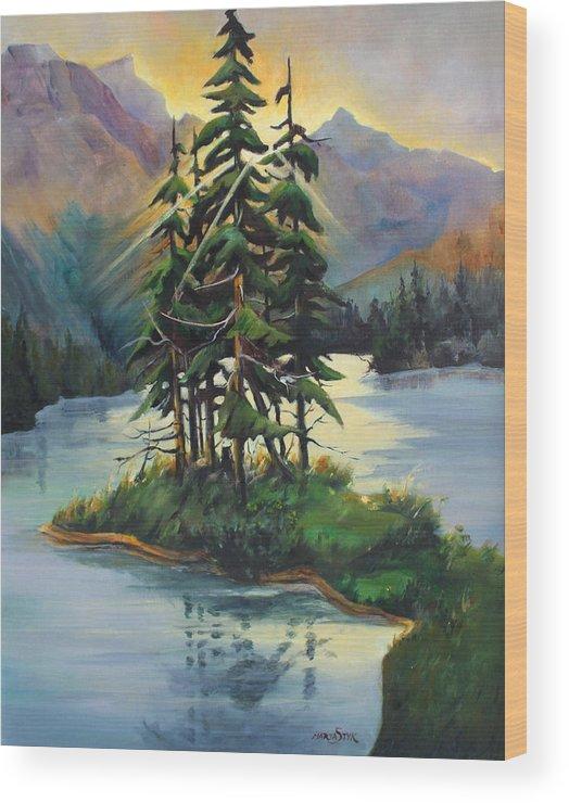 Landscape Wood Print featuring the painting Ghost Island Near Jasper by Marta Styk
