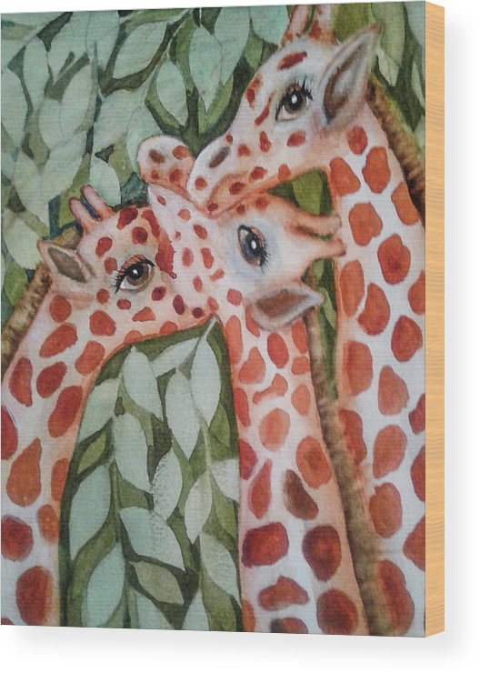 Painting Wood Print featuring the painting Giraffe Trio By Christine Lites by Allen Sheffield
