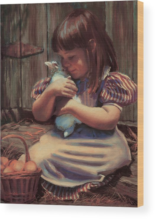 Girl Wood Print featuring the painting Girl With A Bunny by Jean Hildebrant