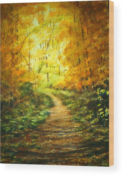 Landscape Wood Print featuring the painting Golden Arches L by Shirley Braithwaite Hunt