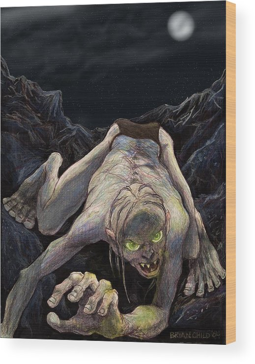 Lord Of The Rings Wood Print featuring the mixed media Gollum Descends by Brian Child