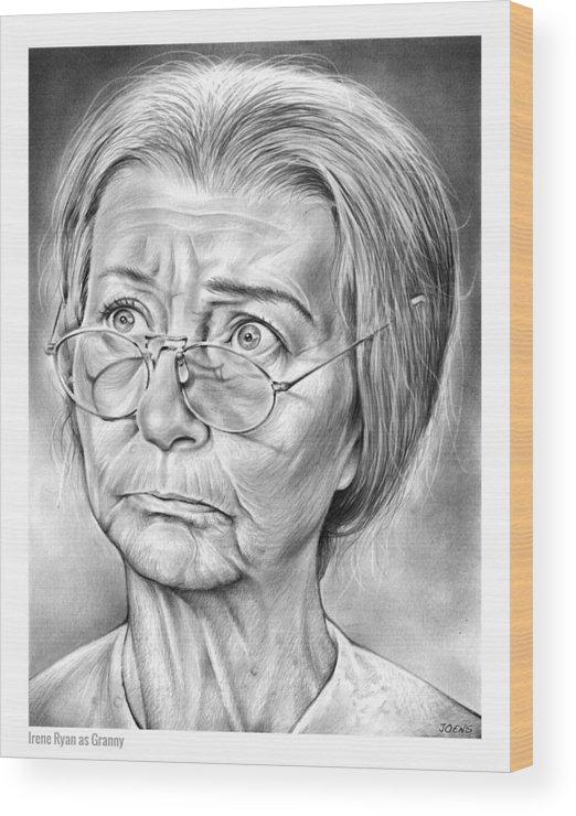 Irene Ryan Wood Print featuring the drawing Granny by Greg Joens