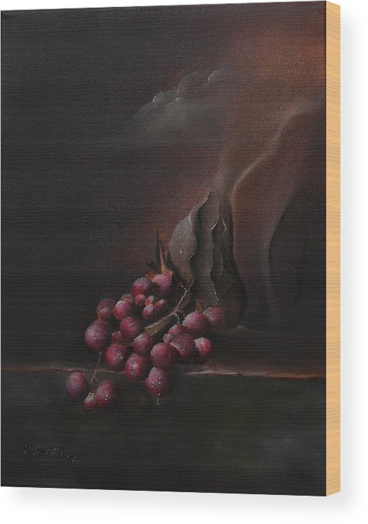 Surrealism Wood Print featuring the painting Grapes by Dejan Roncevic