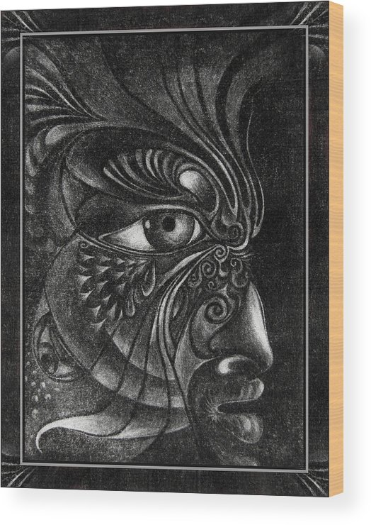 Mezzotint Wood Print featuring the drawing Guardian Cherub by Otto Rapp