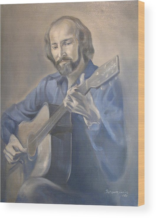 Oil Portrait Wood Print featuring the painting Guitarist by Suzanne Cerny