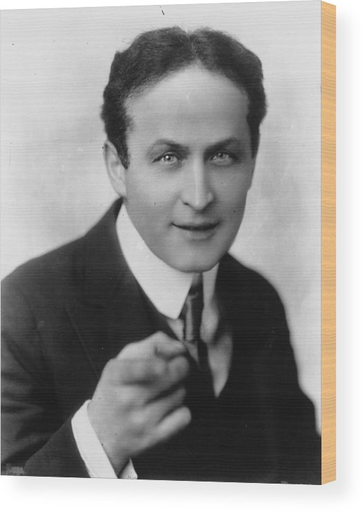 Hollywood Stars Celebrity Wood Print featuring the photograph Harry Houdini Magician by Peter Nowell