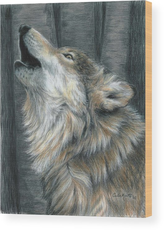 Wolf Wood Print featuring the drawing Howling Wolf by Carla Kurt