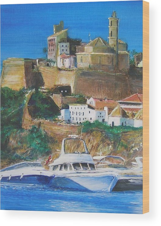 Original Landscape Painting Wood Print featuring the painting Ibiza Town by Lizzy Forrester