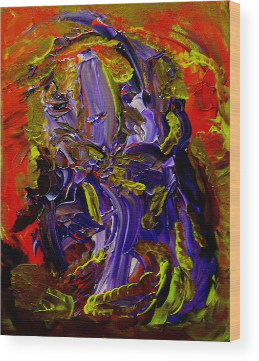 Ill Wood Print featuring the painting Ill Iris by Karen L Christophersen