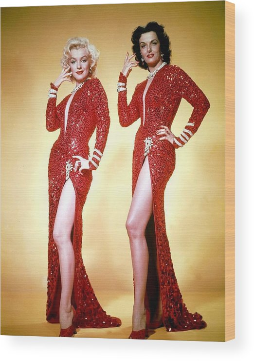Hollywood Stars Celebrity Wood Print featuring the photograph Jane Russel And Marilyn Monroe by Peter Nowell