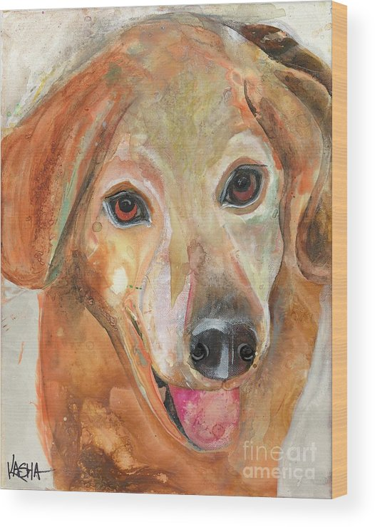 Dog Wood Print featuring the painting Joy by Kasha Ritter