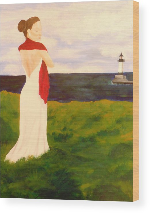 Woman Wood Print featuring the painting Lady At The Ocean by Jennifer Hernandez