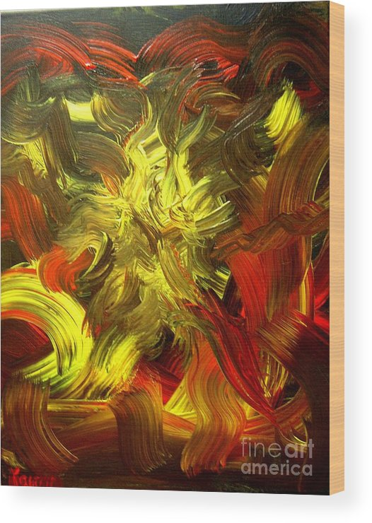 Abstract Wood Print featuring the painting Laughing Lion by Karen L Christophersen