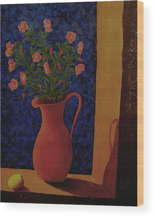 Still Life Wood Print featuring the painting Lemon And Prairie Roses by Arnold Isbister
