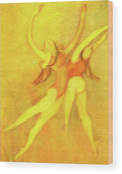 This Is A Matted And Framed Painting Of Two Women Dancers Expressing Exhuberance. Rendered In Reds Wood Print featuring the painting let's Dance by Georgia Annwell