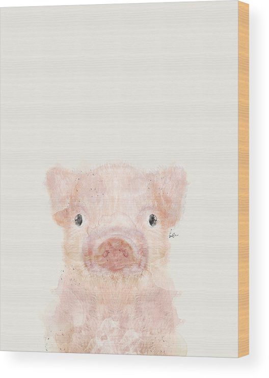 Pig Wood Print featuring the painting Little Pig by Bri Buckley
