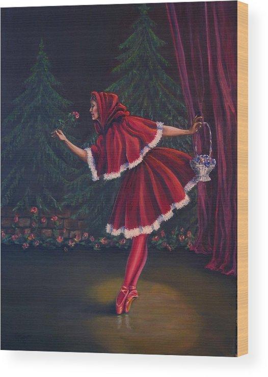 Dance Wood Print featuring the painting Little Red Riding-hood by Maren Jeskanen