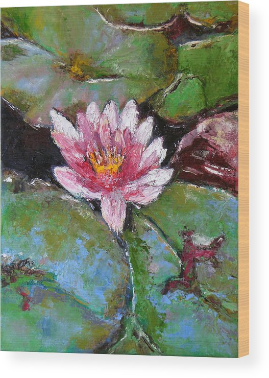 Knife Wood Print featuring the painting Lotus Of The Pond by Lou Ewers