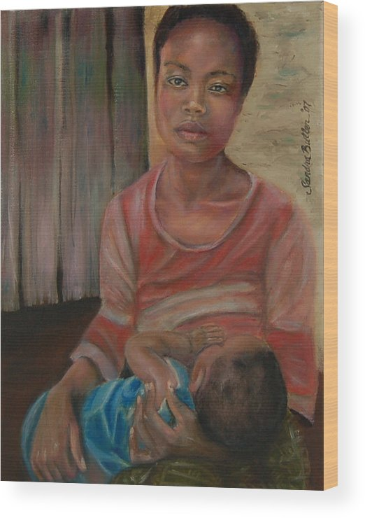 Mother Wood Print featuring the painting Love And Despair by Sandra Butler