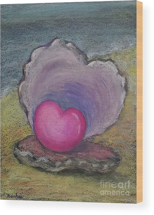 Heart Wood Print featuring the pastel Love Endures All Things by Yoonhee Ko