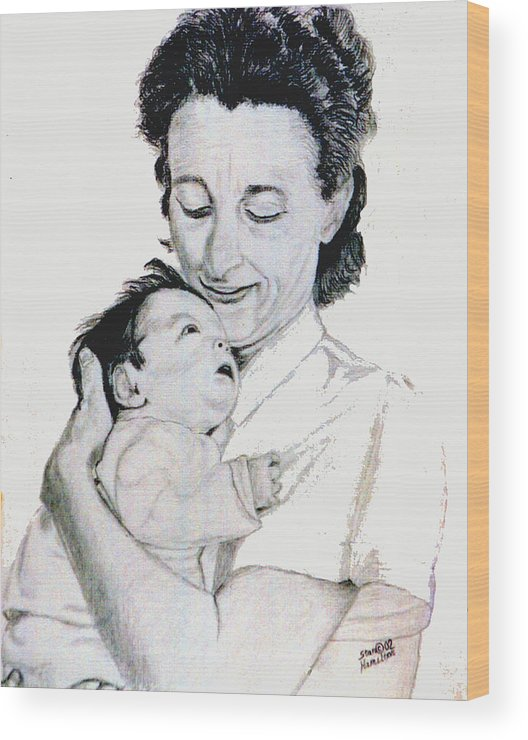 Madona Wood Print featuring the drawing Madona And Baby by Stan Hamilton