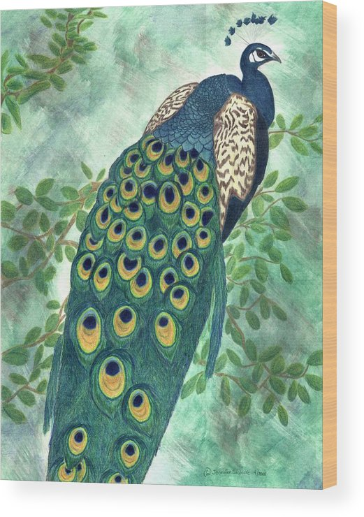Peacock Wood Print featuring the drawing Majestic by Jennifer Skalecke