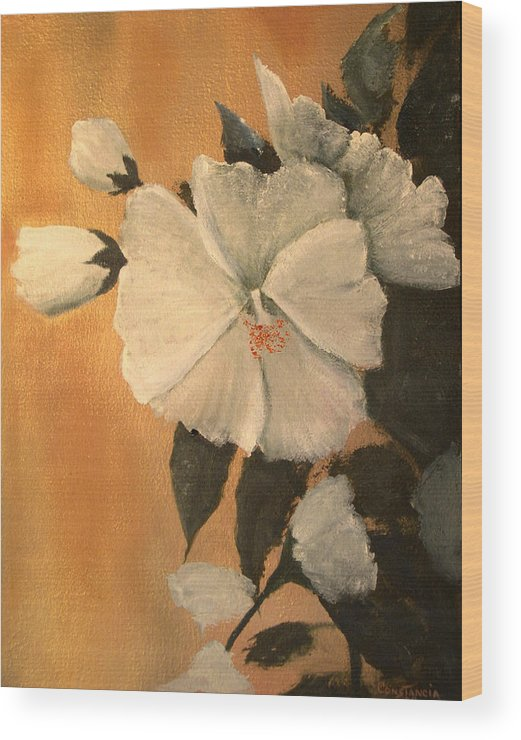 A Painting A Day Wood Print featuring the painting Mallow by Connie Tom